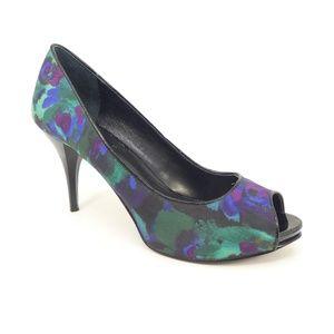 Nine West Watercolor Print Peep Toe Heels